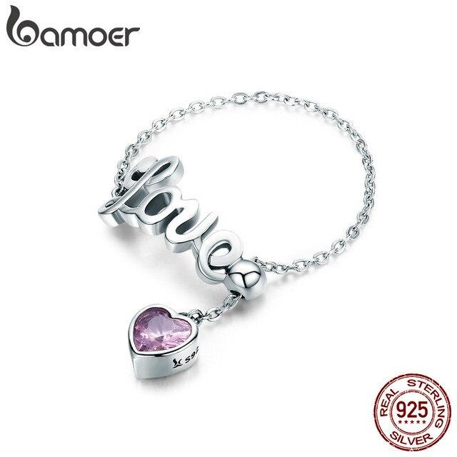 BAMOER Genuine 925 Sterling Silver Love Letter Adjustable Finger Ring Female Par