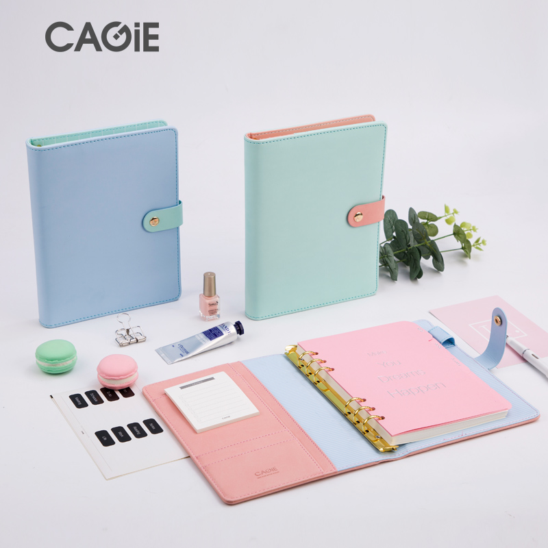 CAGIE a5 Binder Diary Planner Cute Monthly Planner Daily Traveler Notebooks and Journals Leather School Refill Filofax Agenda craft handbook planner 100% genuine leather a5 a6 tnotebook agenda sketchbook notebooks and journals life record retro gifts