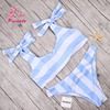 Pacento Striped Swimwear Female Bow Tank Bikini 2017 Sky Blue Bathing Suit Women Bandage Cute Swimsuits
