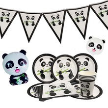 Omilut Panda Party Birthday Supplies Plates/Cups/Napkins Kid For Childrens Baby Showe