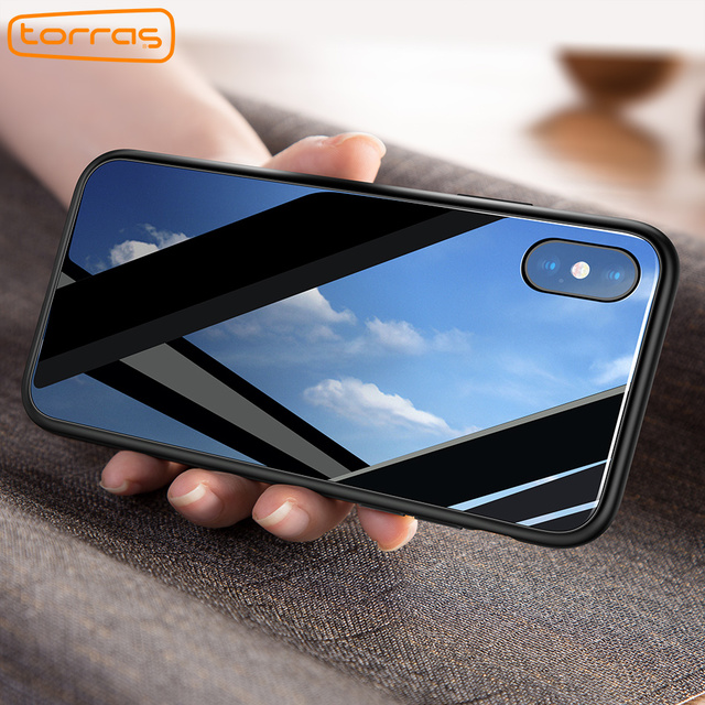 newest collection de512 c0c2a US $13.32 |Aliexpress.com : Buy TORRAS Luxury Glass Case For iPhone X Case  Ultra Thin 9H Hardness Tempered Glass Phone Case For iPhone X Shockproof ...