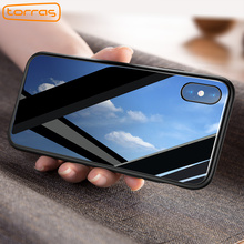 TORRAS Luxury Glass Case For iPhone X Case Ultra Thin 9H Hardness Tempered Glass Phone Case For iPhone X Shockproof Cover Cases