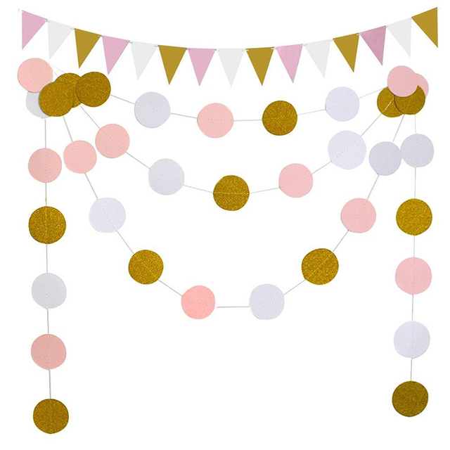 2Pcs/Set Gold Pink Banner Boy Girl Happy Birthday Party Bunting Flag