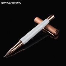 คุณภาพสูง Roller Ball Pen Rose Gold คลิปขายร้อนสีขาวปากกาวัสดุ Escolar โรงเรียนอุปกรณ์สำนักงาน Execut