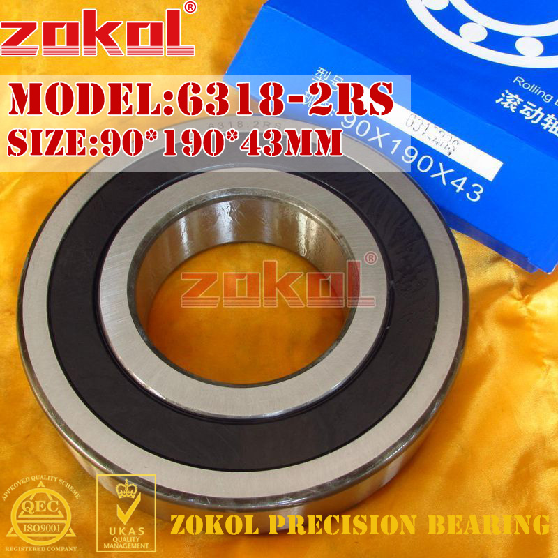 ZOKOL 6318RS bearing 6318 2RS 180318 6318-2RS Deep Groove ball bearing 90*190*43mm luggage