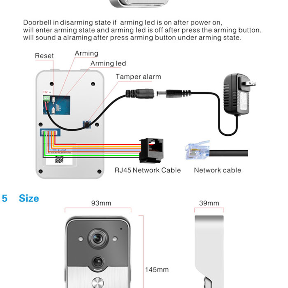 Cell Phone Network Intercom Diagram Wiring Online Wireless 1 Set Wifi Video Door Night Version Mini Camera Pinout