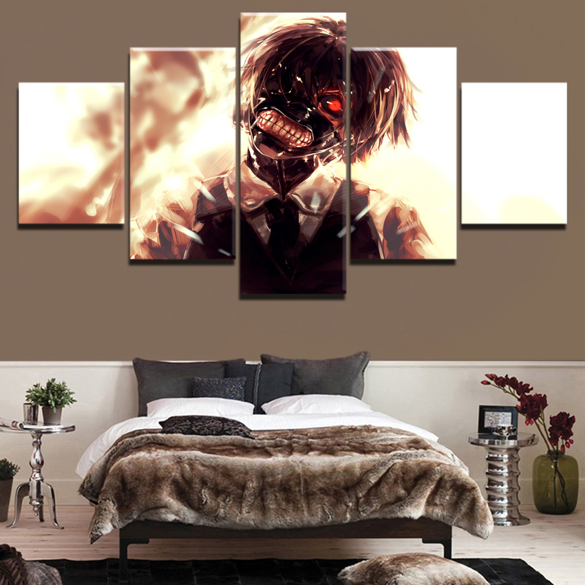 HD-Print-Canvas-Printed-Living-Room-Wall-Art-Face-mask-Tokyo-Ghoul-Anime-5-Pieces-Poster (1)
