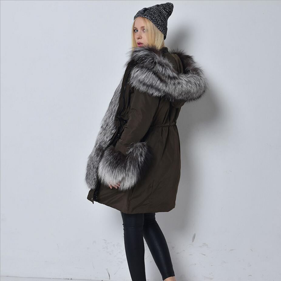 Pour Col D'hiver Veste Manteau Neige De Fourrure Blanc Moyen Canard Argent Femmes Survêtement Long Nouveau Noir 2019 Luxueux Duvet Renard Parkas PSFXxqTFd