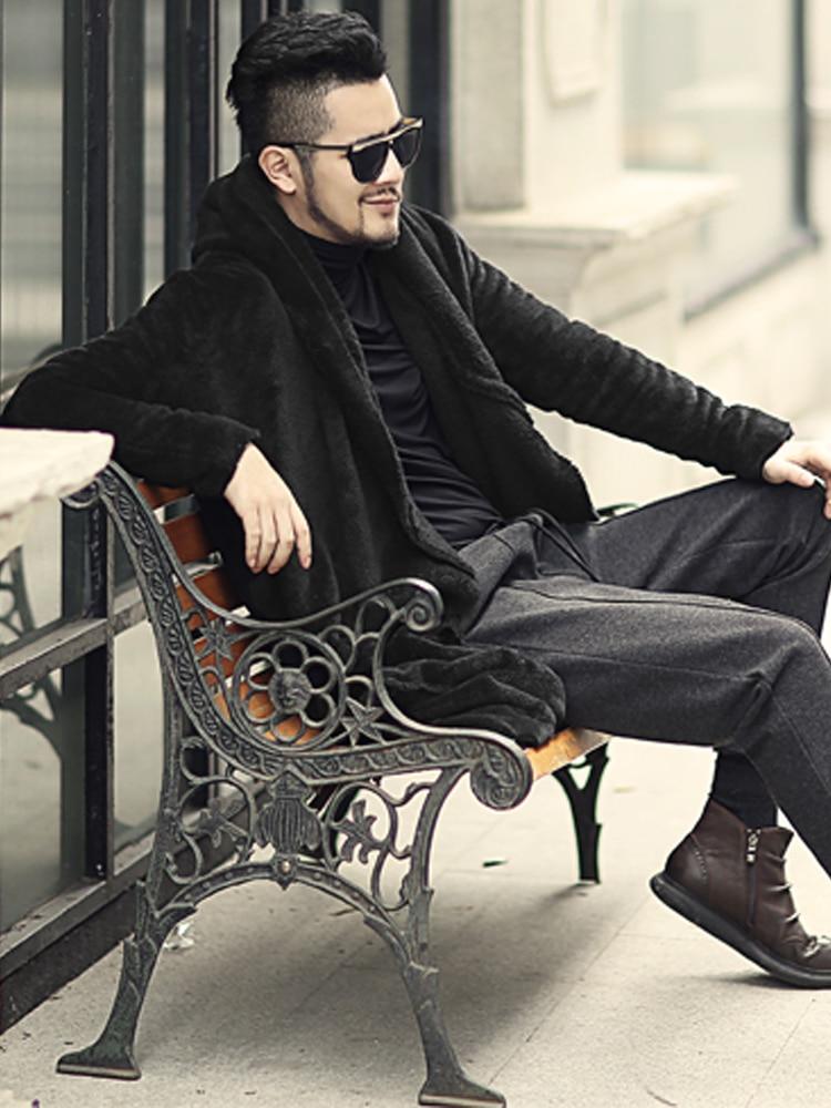 Image 4 - Winter Men long slim black plush shawl cashmere cardigan hooded  jacket men warm pockets European style cardigan F7149