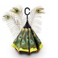 Hot Koop Vrouwen Zon Regenkleding Parasol Gift Dubbellaags Omgekeerde Zelf Stand Out Regen Paraplu Binnen Zwart pauwenveren