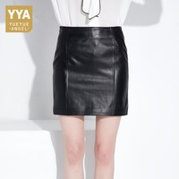 Korean Style Ladies Office Work Bodycon Sheepskin Leather Skirt Sexy Slim Fit High Waist Formal Party Female Pencil Skirts 2XL