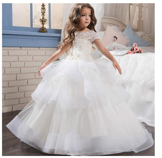 Girls Formal Dress 2017 Shortsleeve Flower Girls Dresses Kids Long Lace Party Tiered Gauze Ball Gown Children's Wedding Dress цены онлайн
