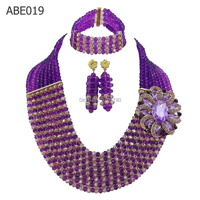 Gorgeous Purple/Champagne African Beads Jewelry Set Unique 8 Layers Nigerian Beaded Necklace/Bracelet/earring Sets ABE019