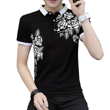 ecf629d1 Flower Print Male Polo Shirts Men Cotton Plus Size Summer Tops Black Short  Sleeve
