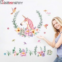 BalleenShiny 60 * 90CM DIY Cute Unicorn Horse Wall Sticker For Kids Rooms Living Room Bedroom Animal Stickers Home Decoration