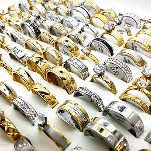 Image 4 - ขายส่ง 50pcs ชุดแหวนเงินทองผู้ชายผู้หญิง rhinestone zircon สแตนเลสสตีลโลหะแฟชั่นหมั้นเครื่องประดับ