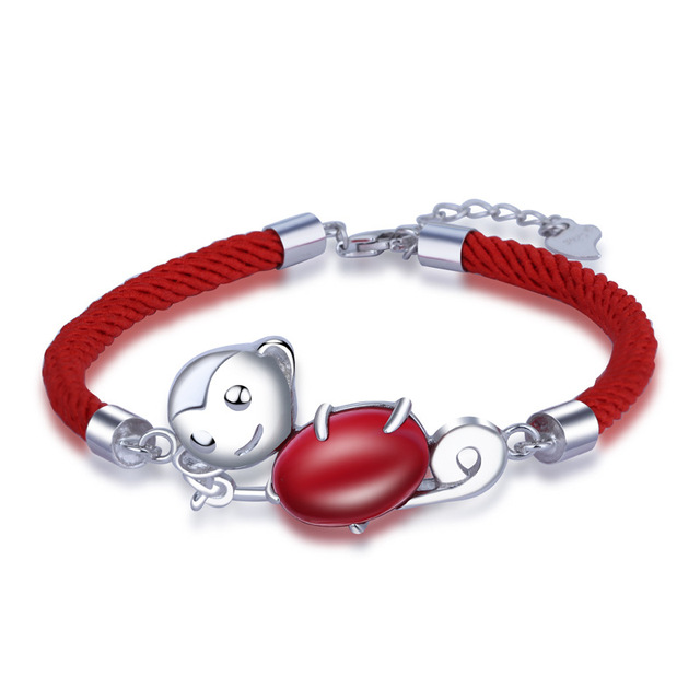 925 Sterling Silver Red Rope 2016 New Monkey Bracelet Factory Direct Wholesale