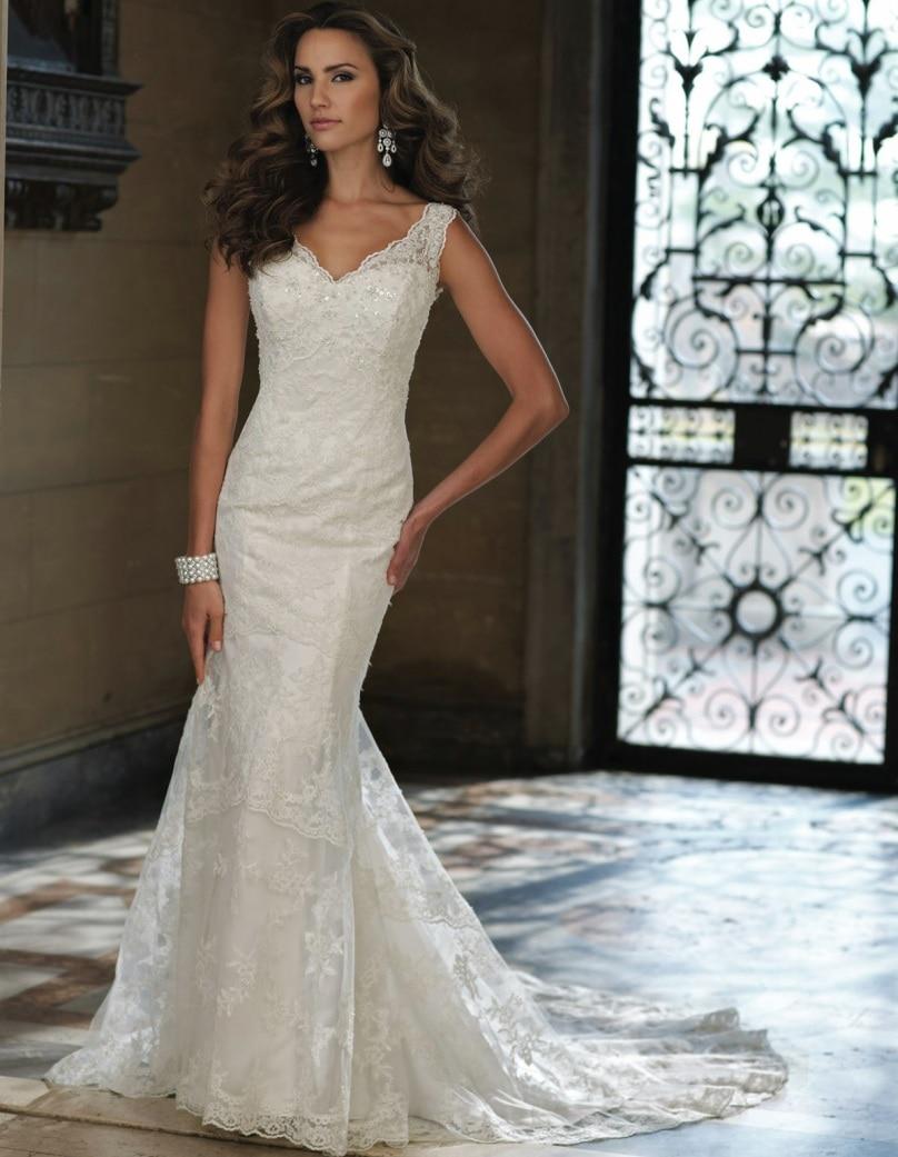 2016 bridal dresses sexy v neckline lace mermaid wedding for Vintage princess wedding dress