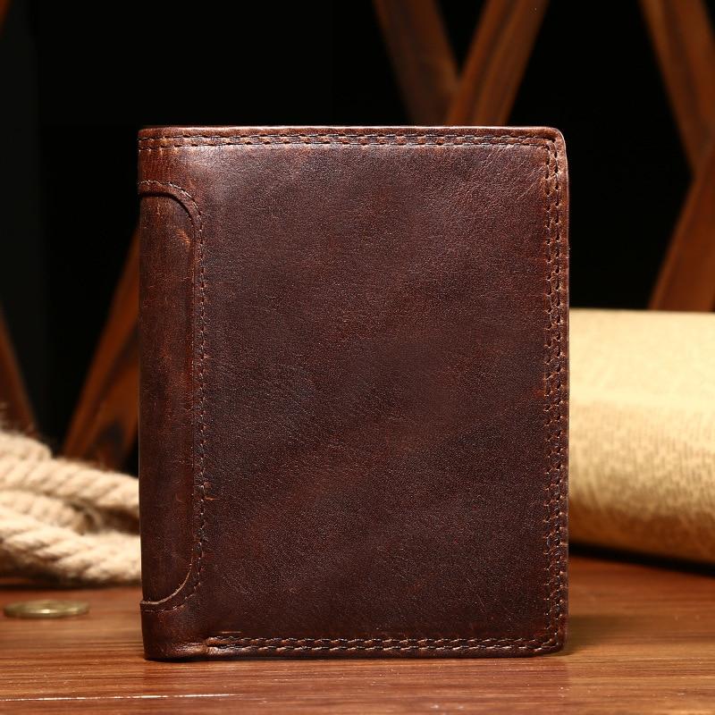 Crazy horse portefeuille en cuir modèles chauds hommes court portefeuille carte portefeuille plus de loisirs