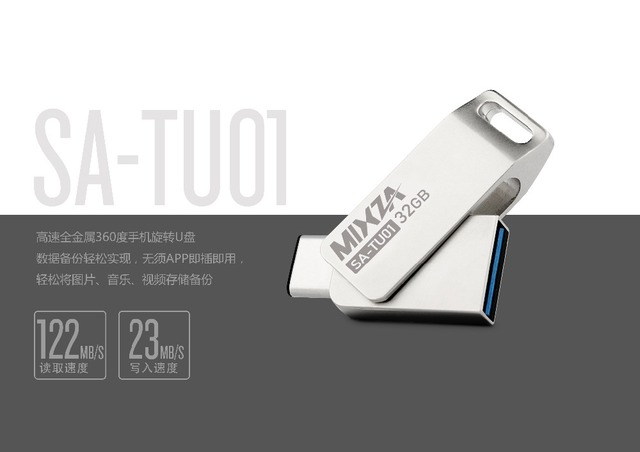 MIXZA Type-C TU01 OTG USB 3.0 Flash Drive 32GB 16GB 64GB Pen Drive Smart Phone Memory Mini USB Stick Type-C 3.1 Dual Double Plug