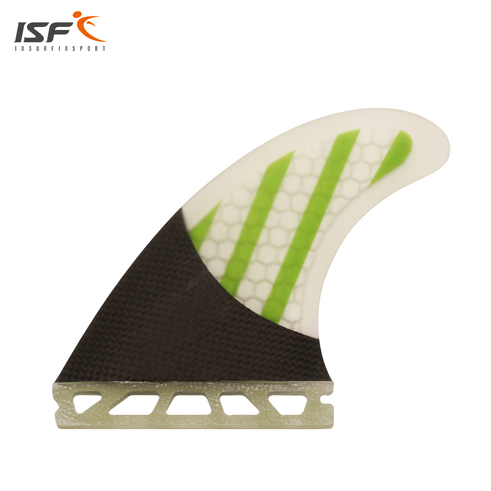 Hot sale new design carbon fiber honeycomb green white future surf fins thruster quilhas de surf future surfboard fins G5 hot sale future fin honeycomb surf quad fins in surfing surfboard quilhas free shipping