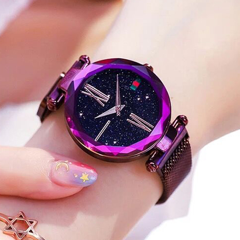 Fashion Ladies Casual Watch Luxury Purple Women Watches Minimalist Starry Sky Magnetic Watch Waterproof Wristwatch Dropshipping