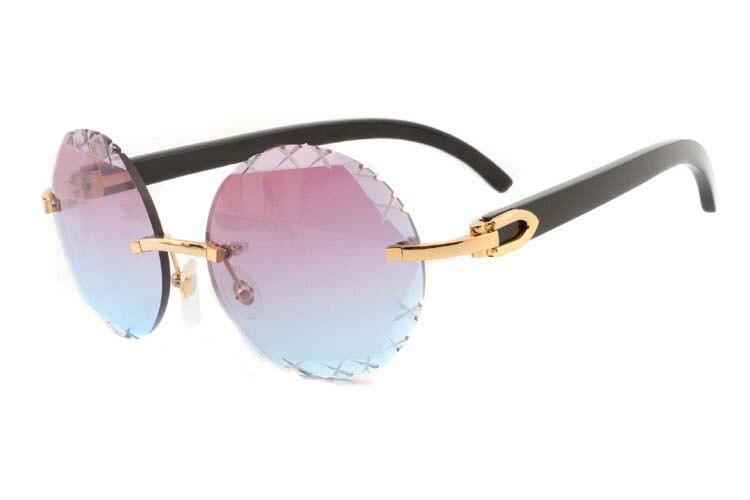 purplish blue Cut lenses black buffalo horn sunglasses 3524012(C), gold (1)