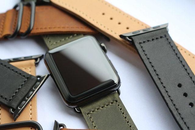 63a3017d4f3eee URVOI band for apple watch series 4 3 2 1 strap for iwatch black classic  buckle handmade vintage retro comfortable leather band