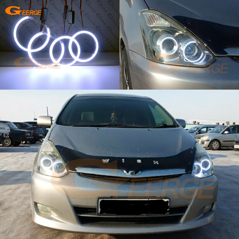 For TOYOTA WISH 2005 2006 2007 2008 2009 Excellent angel eyes Ultra bright illumination COB led angel eyes kit halo rings for chrysler voyager grand voyager 2005 2006 2007 excellent ultra bright rgb multi color led angel eyes halo rings led light