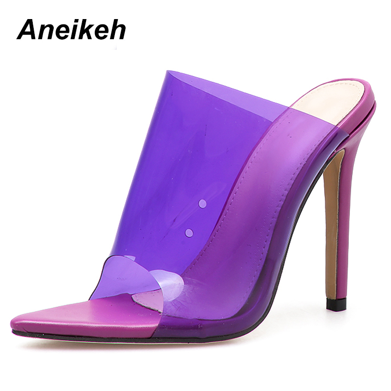 Detail Feedback Questions about Aneikeh 2019 PVC Jelly Sandals Open Toe High  Heels Women Thin Heels Slippers Shoes Heel Clear Sandals Slippers Pumps  Purple ... 6b4b80192ed0