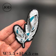 JOD* Angel Feather Black Biker Embroidery Iron on Patches for Clothing DIY Clothes Patch Stickers Fabric Badges Decorative Bird jod 10 4cm 67 wing diy iron on decorative biker patches for clothes applications embroidery patch applique stickers badge fabric