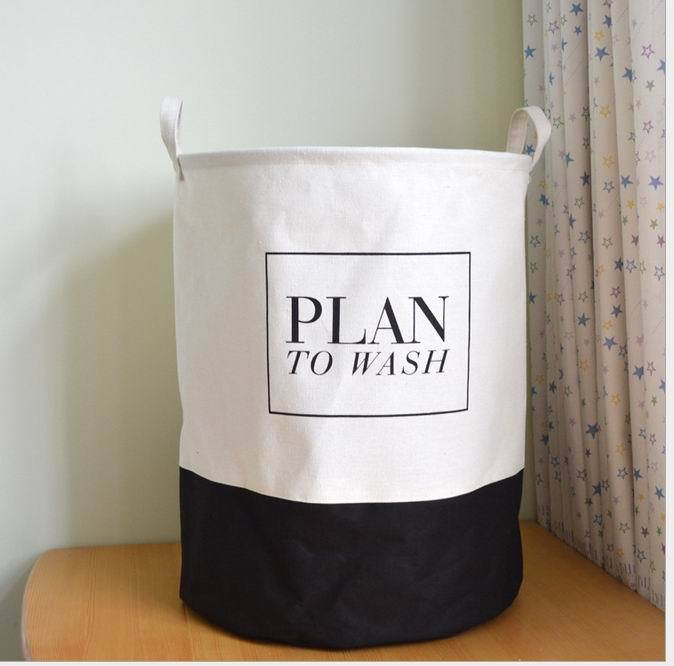 Canvas Fabric Laundry Basket with handles