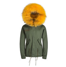 Male Winter Thick Removable Fur Collar Coat Outerwear Fur parka