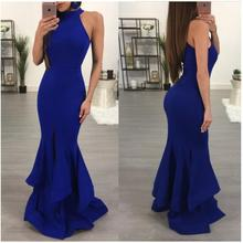 Halter Long Dress Women Elegant  Evening Party Maxi Dresses Sexy Lady Blue Black Formal Prom