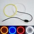 1 par (2 peças) COB 60mm diodo emissor de luz Do Farol Do Carro Olhos de Anjo levou com tampa Kit DRL Motocicleta daytime running luz Com Abajur