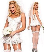 Nupcial blanco de la Lencería Sexy + liga + T jadea + Pelo accesorios cosplay disfraces sexy para mujer lencería erótica SL208
