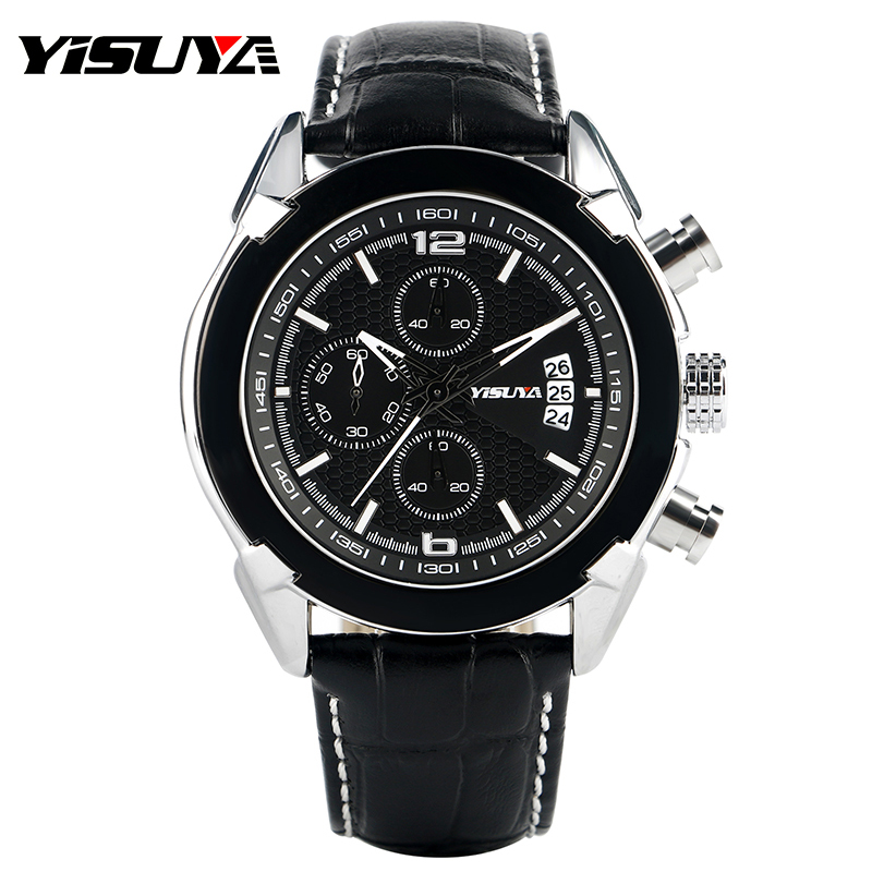 YISUYA Date Aviator Genuine Leather Band Wrist Watch Casual Analog Quartz Men Watches Outdoor Calender Sport Relogio Masculino yisuya fashion nature wood wrist watch men analog sport bamboo black genuine leather band strap for men women gift relogio clock page 5