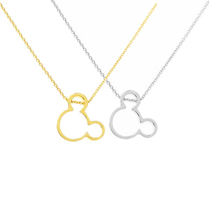 Dainty Cartoon Mouse Pendant Necklace for Women Children Baby Mouse Ears Charms Birthday Gift Stainless Steel Chain Collar