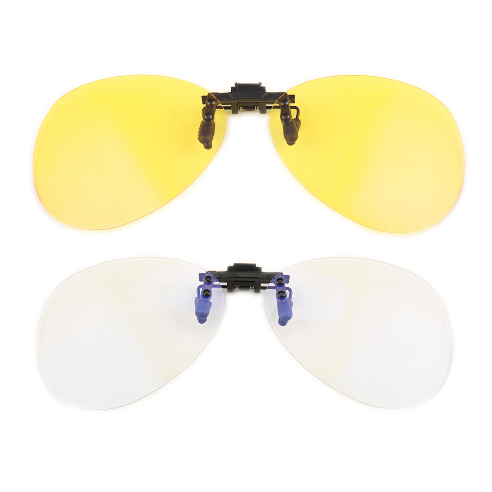 Gudzws Anti Blue Light Blocking Clip on Attached to Myopia Glasses Classic Aviator Big Frame Yellow Clear <font><b>Lens</b></font> image