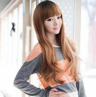 26inches(65cm) Black/Light Brown/Dark Brown/Blonde Synthetic Hair wig Cossplay full bangs long curly wavy hair peluca
