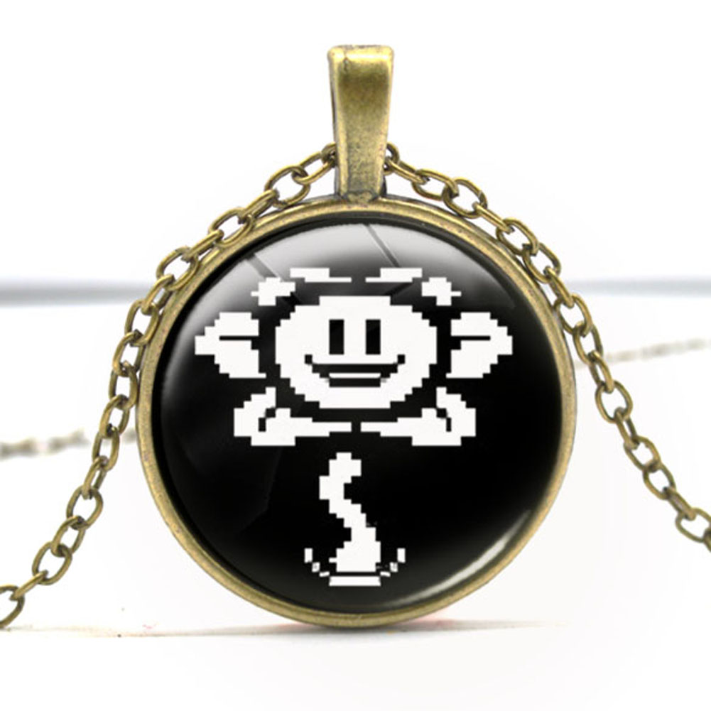 Undertale fans Flower Sans Video Game Gaming Fashion Necklace brass silver Pendant steampunk Jewelry Gift ladies chain toy mens