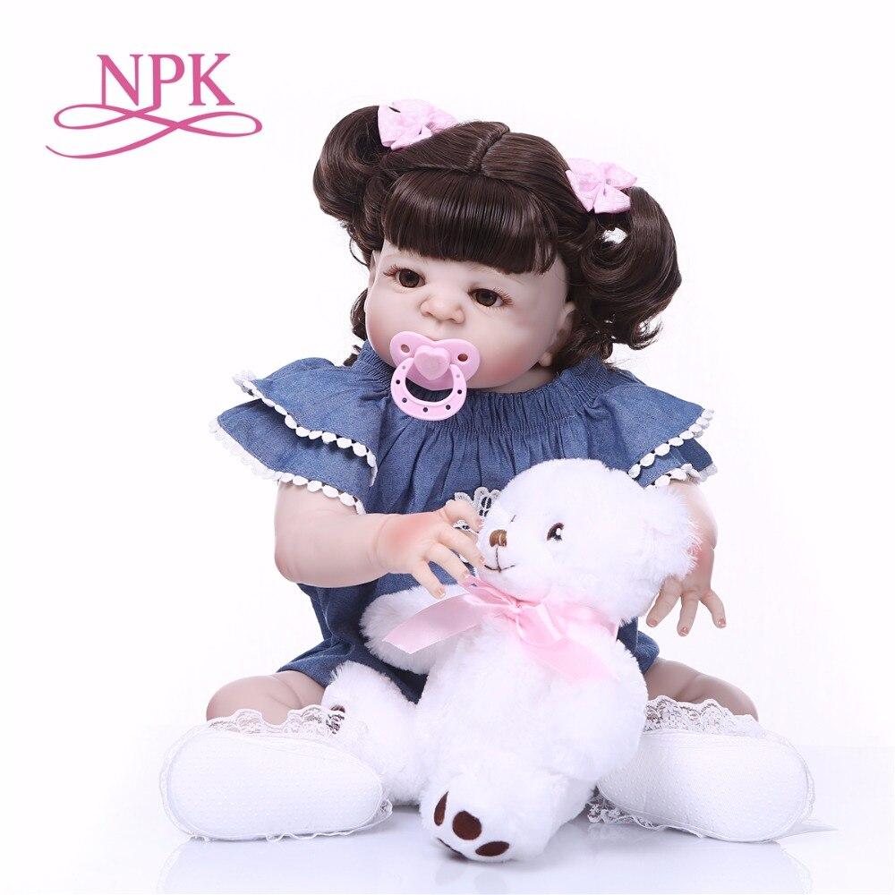 NPK 57CM Full Silicone Baby Doll Handmade Reborn Babies Lifelike Girl s toys For Kids Christmas