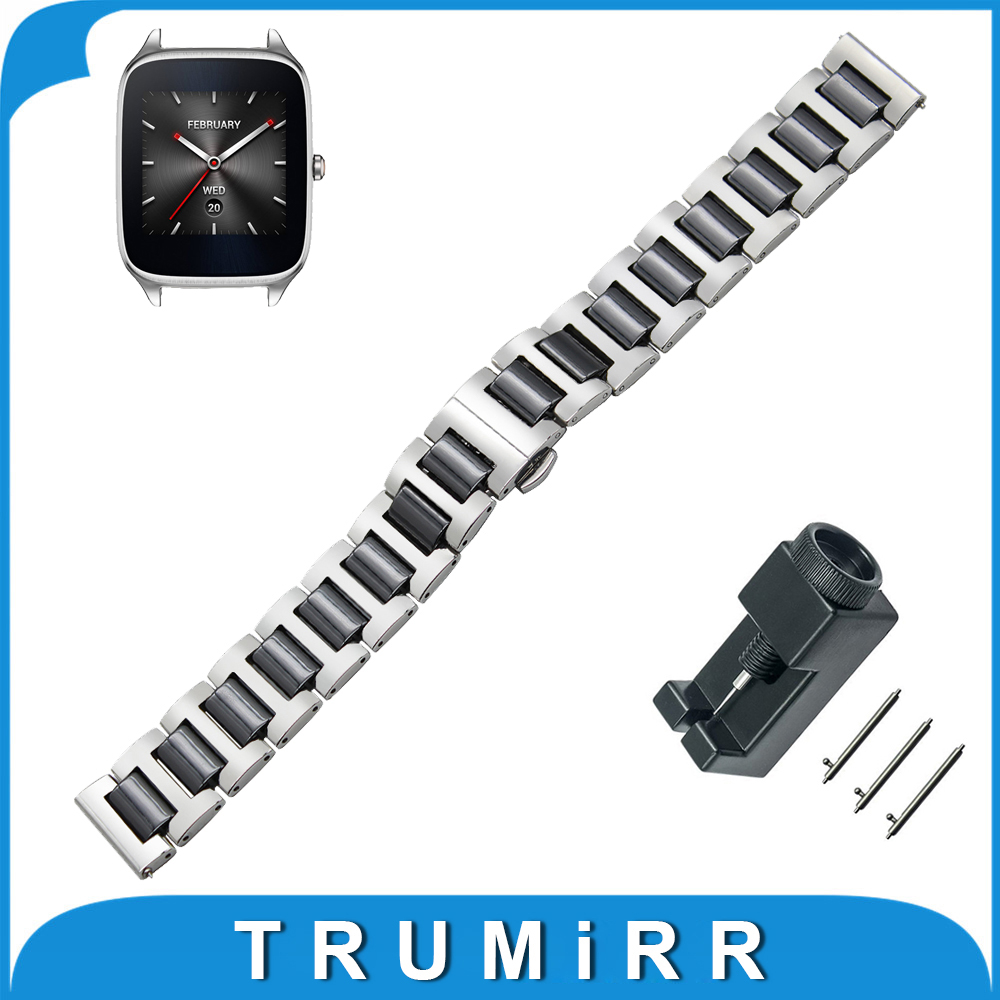 22mm Ceramic + Stainless Steel Watch Band for Asus ZenWatch 1 2 Men WI500Q WI501Q Quick Release Strap Wrist Bracelet