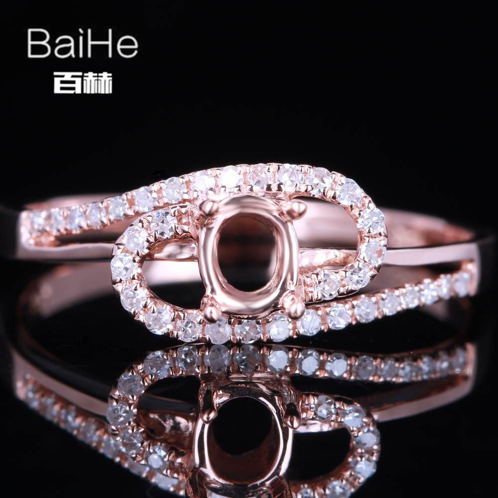 BAIHE Solid 14K Rose Gold(AU585) Certified Oval cut Engagement Women Cute/Romantic Fine Jewelry Elegant unique Semi Mount Ring  BAIHE Solid 14K Rose Gold(AU585) Certified Oval cut Engagement Women Cute/Romantic Fine Jewelry Elegant unique Semi Mount Ring