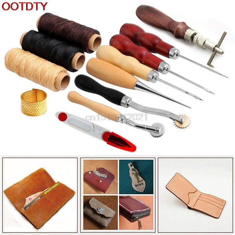 14 unids kit artesanía de cuero mano costura Costura herramienta Hilos AWL encerado thimble