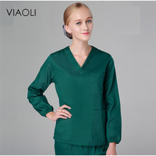 Viaoli 2017 Washing clothes long sleeves cotton men and women surgical clothing medical uniforms beauty salons overalls(China)