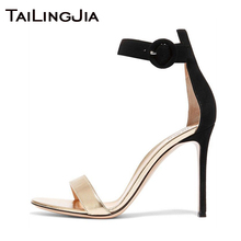 Fuax Suede High Heel Woman Sandals Open Toe Women Summer Shoes Brand Sexy Ladies Buckle Party Evening Dress