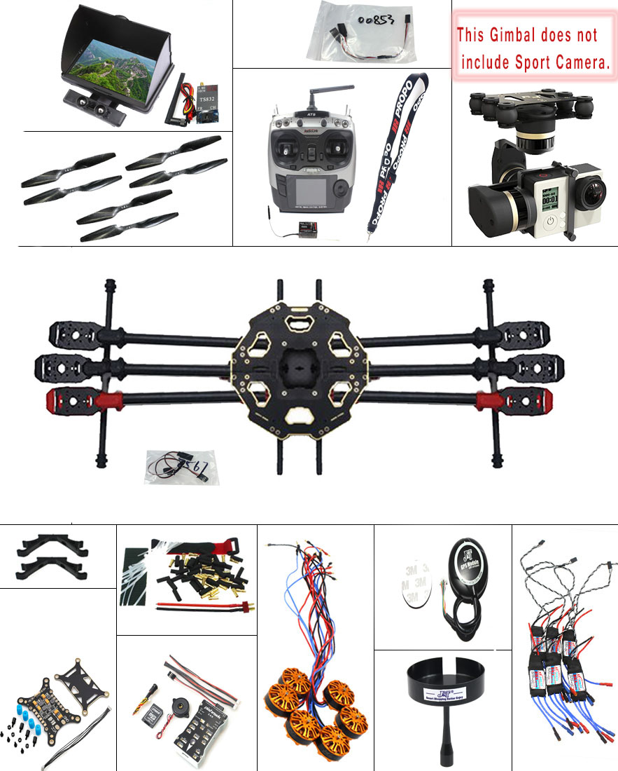 JMT 2.4G 9CH DIY RC PX4 GPS 5.8G FPV 680PRO Hexacopter Unassembled 6-Axle Kit ARF RC Drone MINI3D Pro Gimbal No Battery F07807-I f04305 sim900 gprs gsm development board kit quad band module for diy rc quadcopter drone fpv