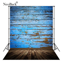 NeoBack 3x5ft Thin Vinyl Retro Blue Board Photography Backgrounds Photo Studio Wood Wall Floor Backdrop P3078
