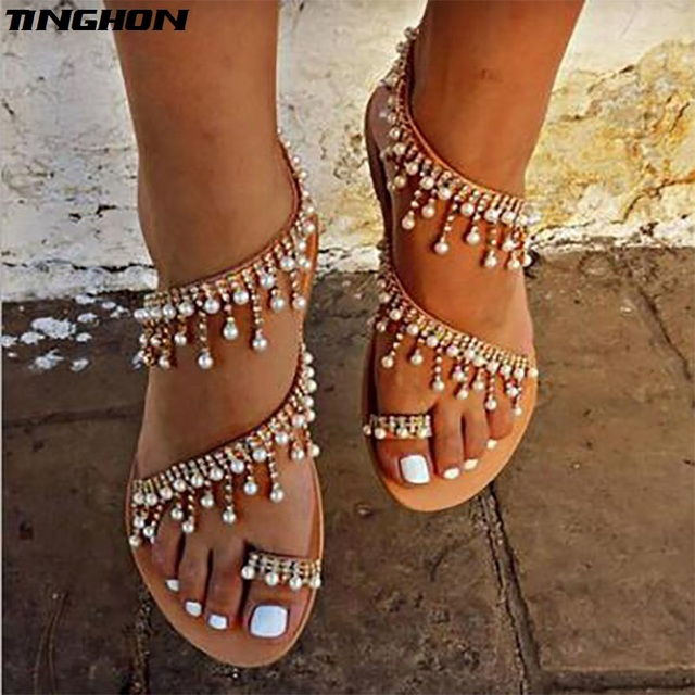 ef905166f35 TINGHON Summer Women Shoes Sandals Pearl Beads Thong Flat sandals women  gladiator sandals size Us4-13